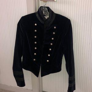 Alice & Olivia Navy Velvet jacket w leather detail